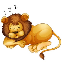 Cute lion sleeping alone vector
