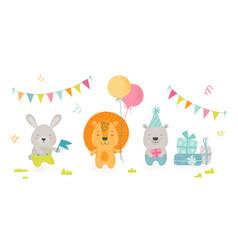 cute scandinavian boho style teddy animals vector image