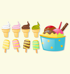 different flavor of ice cream vector image