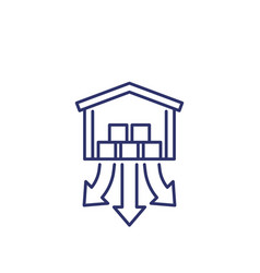 Distribution center or warehouse line icon vector