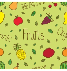 Doodle fruits seamless vector image