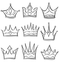 doodle set crown various sketch vector image