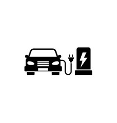 electric car charging station flat icon vector image