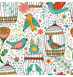 Elegant pattern with flowers bird cages and birds vector image