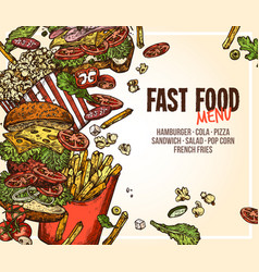 fast food background for menu vector image