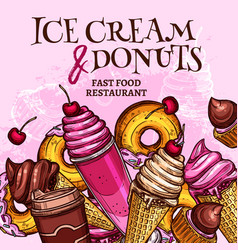 Fast food ice cream and donuts poster vector