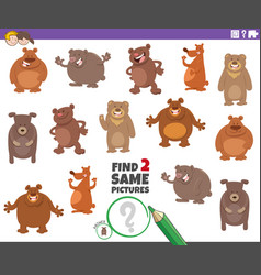 Find two same bears educational game for children vector