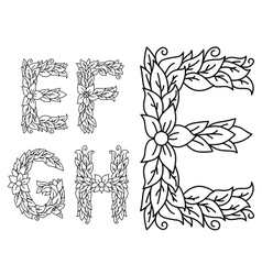 Floral capital letters E F G and H vector image