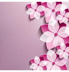 Floral festive background with pink 3d flowers vector