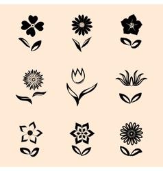 Flower set on retro background Black symbols with vector image