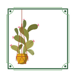Frame with cactus on macrame hangers icon vector