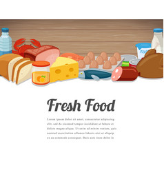 fresh food card design food background with vector image