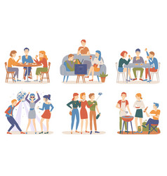 Friends spending time together partying people vector