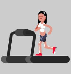 Girl runing on running track vector