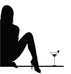 girl with martini vector image
