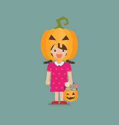 Girl with pumpkin basket wearing a pumpkin head vector