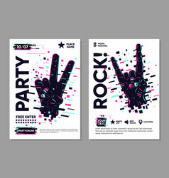 glitch style poster with human hand online party vector image