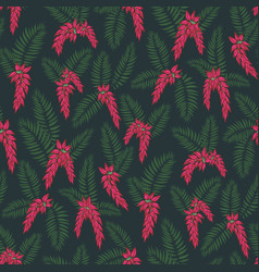 Glorious palm leaf midnight flowers vector