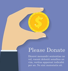Gold dollar coin icon in man hand Donation giving vector