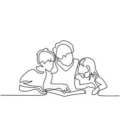 Grandmother reading book with her grandchildren vector