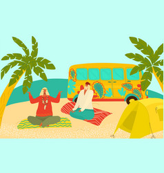 grandparents eldery hippy people travelling vector image