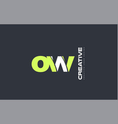 Green letter ow o w combination logo icon company vector