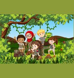 Group of international camping children vector