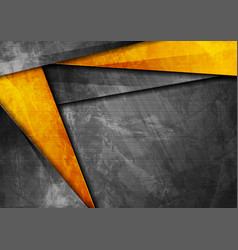 grunge tech corporate orange and dark grey vector image