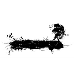 grunge with tree and birds vector image