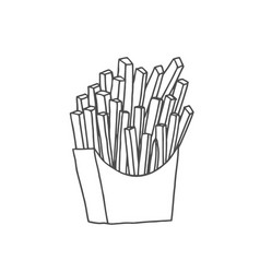 hand drawn doodle of french fries vector image