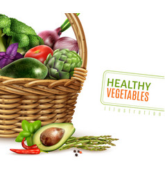 healthy vegetables in basket vector image