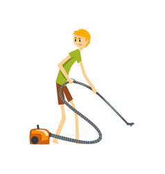 Henpecked man husband cleaning the floor with vector