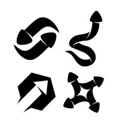 Hexagonal transfer arrow direction black color set vector