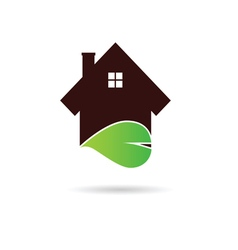 house with green leaf vector image