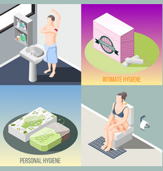 hygiene isometric 2x2 design concept vector image