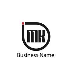 initial letter mk logo template design vector image