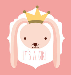 Its a girl pink rabbit with crown card vector