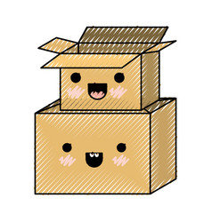 Kawaii cardboard boxes stacked in colored crayon vector