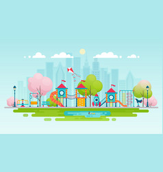 Kids playground with playing equipment vector