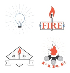 logos depicting fire and light vector image vector image