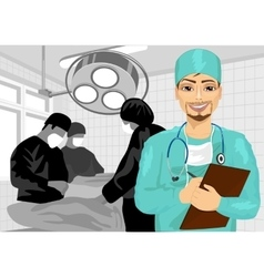 Male surgical nurse in operating room vector