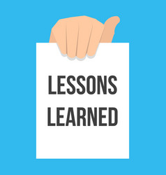 Man showing paper lessons learned text vector