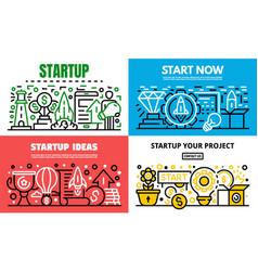 media startup banner set outline style vector image