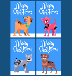 Merry christmas postcards with pedigree dogs set vector
