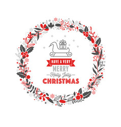 merry christmas wreath with text white background vector image