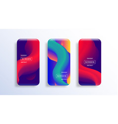 Mobile screen display with abstract wallpaper vector