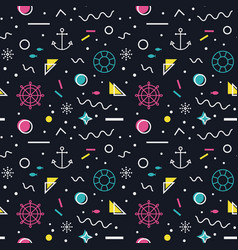 nautical seamless pattern in memphis style vector image