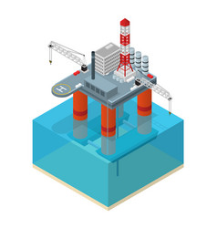 Oil industry platform isometric view vector