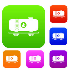 oil railway tank set collection vector image