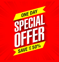 One day special offer sale banner vector